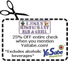 25% OFF entire check when you mention YaSabe.com! (Excludes alcoholic beverages)